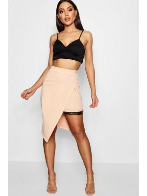 Boohoo Wrap Front Lace Panel Crepe Midi Skirt