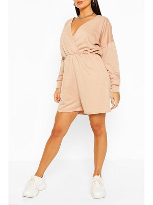 Boohoo Wrap Front Long Sleeve Loopback Sweat Romper