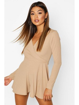 Boohoo Wrap Front Long Sleeve Ribbed romper