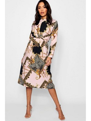 Boohoo Wrap Front Mix Print Midi Dress