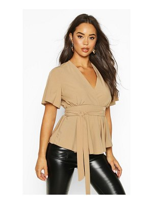 Boohoo Wrap Front Tie Back Blouse