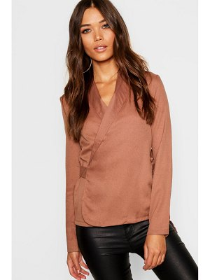 Boohoo Wrap Front Tie Side Blouse