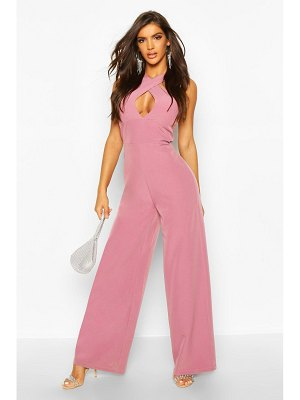 Boohoo Wrap Neck Detail Wide Leg Jumpsuit