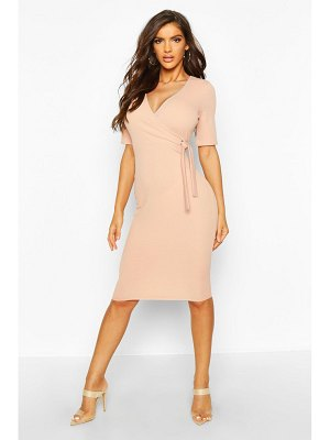Boohoo Wrap Over Eyelet Detail Tailored Midi Dress