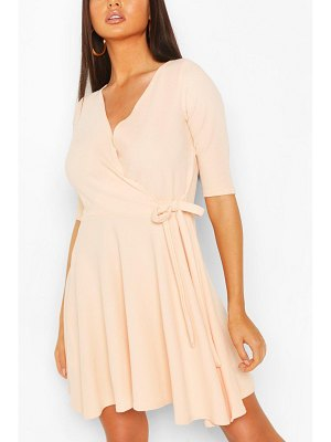 Boohoo Wrap Over Skater Midi Dress