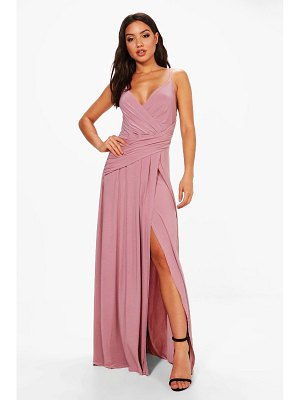 Boohoo Wrap Ruched Strappy Maxi Dress
