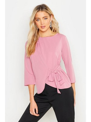 Boohoo Wrap Tie Front Woven Blouse