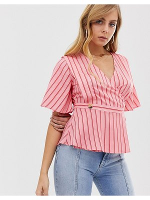 Boohoo wrap top in red and pink stripe with button detail
