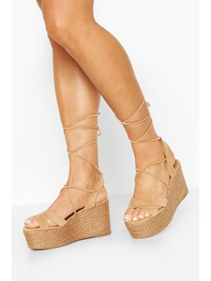 Boohoo Wrap Up Strap Raffia Wedges