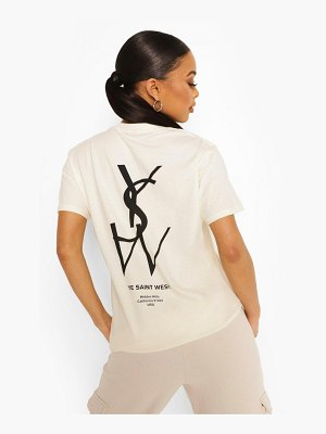 Boohoo Ye Saint West Back Print Oversized T-Shirt