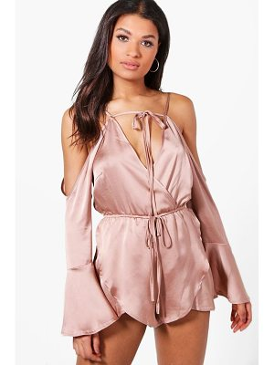 Boohoo Wrap Front Fluted Sleeve Playsuit