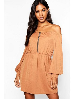 Boohoo Zip Balloon Sleeve Off The Shoulder Dress