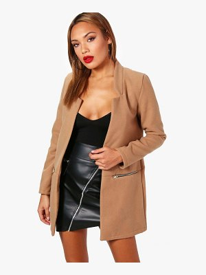 Boohoo Zip Pocket Wool Look Coat