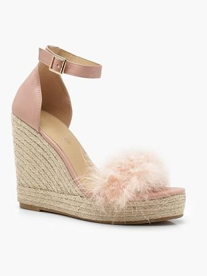 Boohoo Feather Trim Espadrille Wedges