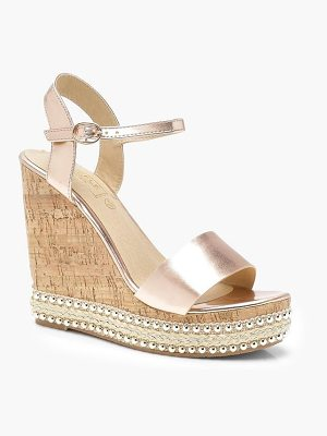 Boohoo Metallic Stud and Plait Cork Wedges