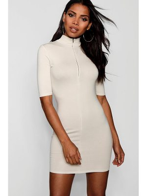 Boohoo Zip Detail High Neck Bodycon Dress