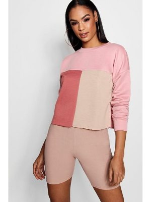Boohoo Colour Block Tonal Boxy Sweat