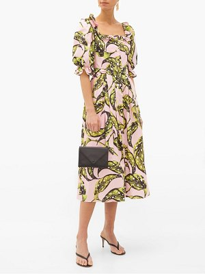 Borgo De Nor corina leaf-print cotton midi shirt dress