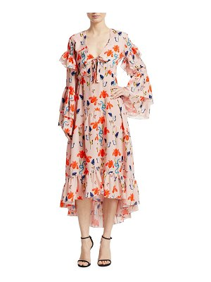 Borgo De Nor luna long sleeve ruffled gown