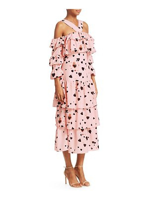 Borgo De Nor sandra heart polka dot halter tiered a-line dress
