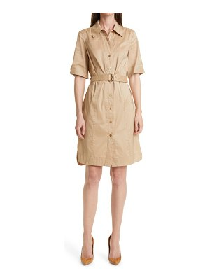 BOSS dashilo belted cotton blend shirtdress