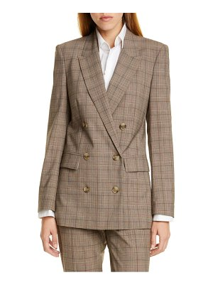 BOSS jalorra glen check double breasted stretch wool suit jacket