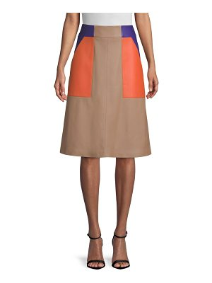 BOSS seplea colorblock leather a-line skirt
