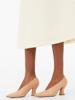 Bottega Veneta almond curved-heel leather pumps