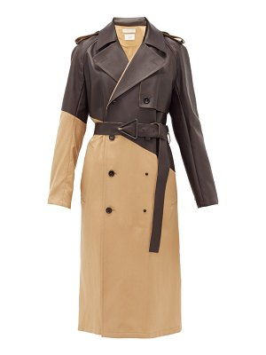 Bottega Veneta bonded-leather wool-gabardine trench coat