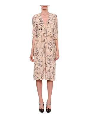 BOTTEGA VENETA Botanical-Print Long-Sleeve Gathered-Waist Silk Dress