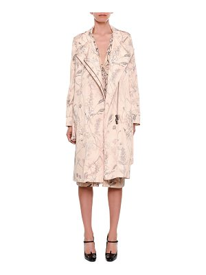 Bottega Veneta Botanical-Print Zip-Front Belted Trench Coat