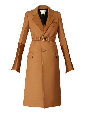 Bottega Veneta contrast-panel belted single-breasted coat