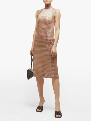 Bottega Veneta crystal-embellished jacquard-knit midi dress