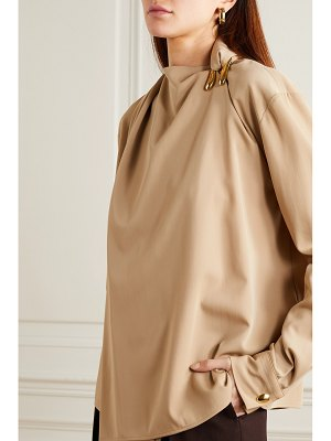 Bottega Veneta embellished draped wool-twill blouse