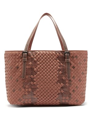 Bottega Veneta Intrecciato Medium Leather & Snakeskin Tote Bag