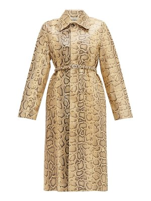 Bottega Veneta single breasted python effect leather coat