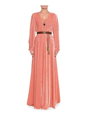 Bottega Veneta V-Neck Long-Sleeve Belted Chain-Stitch A-Line Long Dress w/ Leather Belt