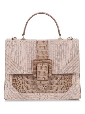 Brahmin medium francine croc embossed leather satchel