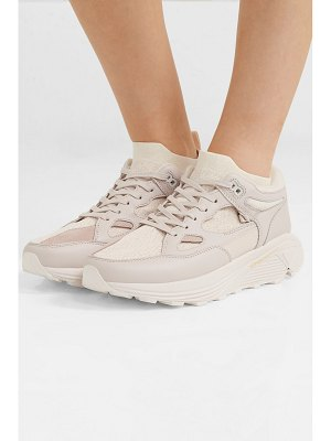 Brandblack aura leather, nubuck and stretch-knit sneakers