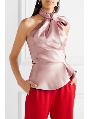 Brandon Maxwell bow-embellished satin-twill halterneck top
