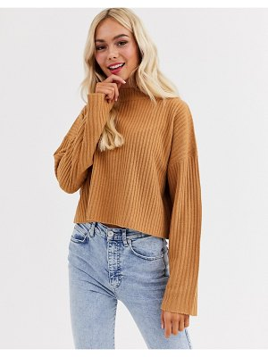 Brave Soul adda cropped high neck sweater