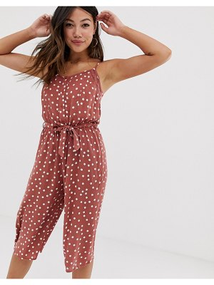 Brave Soul antonia button down jumpsuit in polka dot