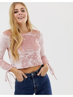 Brave Soul crushed velvet ruche sleeve top in pink