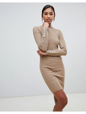 Brave Soul ribbed dress with cuff button detail