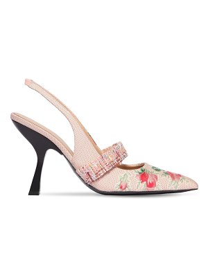 BROCK COLLECTION 100mm jacquard sling back pumps