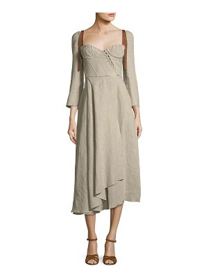 BROCK COLLECTION Devin Corseted Long-Sleeve Linen Dress w/ Full Skirt