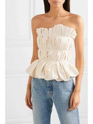 BROCK COLLECTION gathered cotton and linen-blend bustier top