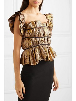 BROCK COLLECTION grosgrain-trimmed gathered brocade bustier top