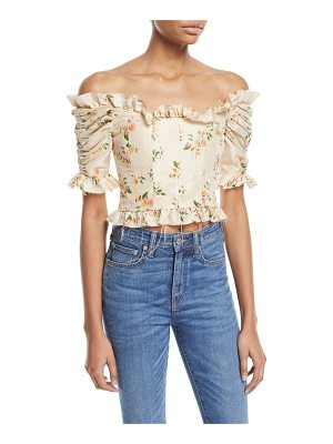BROCK COLLECTION Off-the-Shoulder Mini Floral-Print Taffeta Corset Top