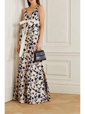 BROCK COLLECTION open-back embroidered shantung peplum gown